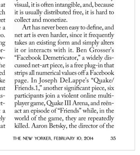 Facebook Demetricator in the New Yorker