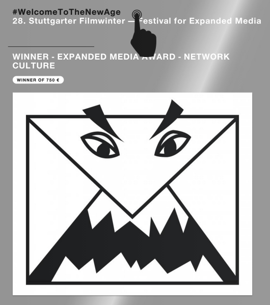 ScareMail was given the Expanded Media Award for Network Culture at Stuttgarter Filmwinter