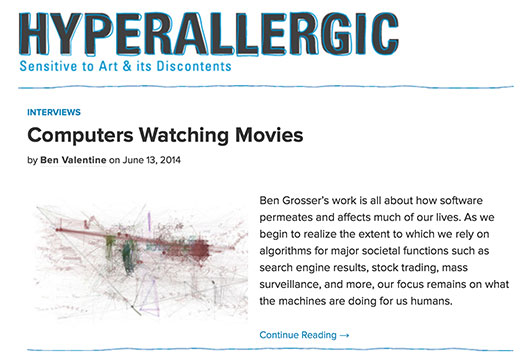 Computers Watching Movies on Hyperallergic