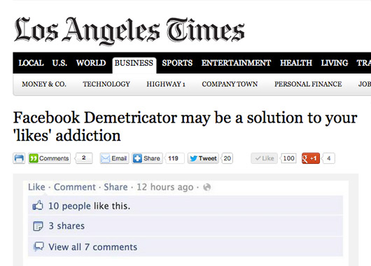 Facebook Demetricator in the Los Angeles Times