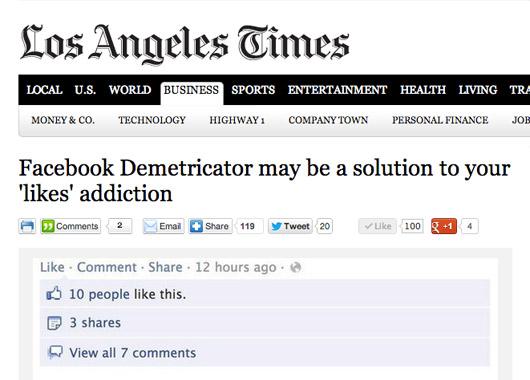 Facebook Demetricator in the Los Angeles Times