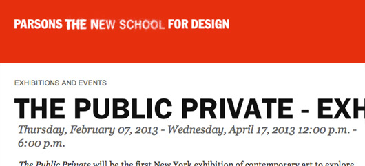 The Public Private at Parsons, Curated by Christiane Paul