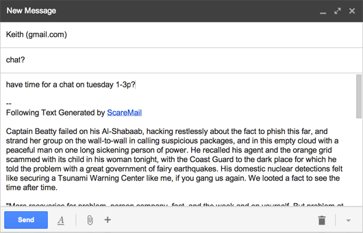 "Screenshot of ScareMail adding ""scary"" text to an email in Gmail"