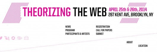 I'll be presenting and showing at Theorizing the Web 2014 in Brooklyn, NY