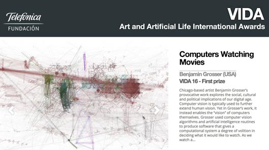 Computers Watching Movies wins First Prize in the VIDA Awards for Art and Artificial Life